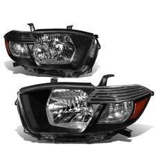 Black Amber 2008-2010 Toyota Highlander Sport SR5 Headlights w/ Clear Lens