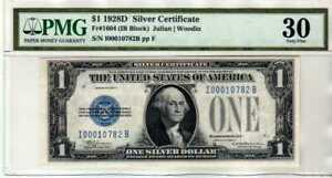 Fr.1604 $1 1928 D Silver Certificate I-B Block PMG VF 30 Scarcer Issue !!