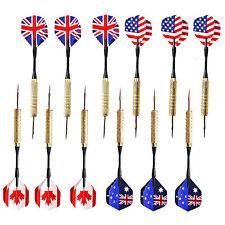 12 pcs ( 4 set) Steel Needle Tip Dart Darts With National Flag Flight Flights