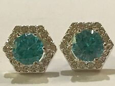 ❤️AUTHENTIC ORIGAMI OWL ~ BLUE CRYSTAL STUD + PAVE HEXAGON HALO EARRINGS 🦉FAB❤️