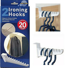2 x OVER THE DOOR IRONING Hook Hanger Hooks Space Saving Clothes Storage Multi