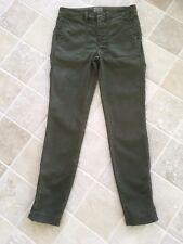 WOMENS J CREW KHAKI GREEN COTTON/LYOCELL PANTS, SIZE 26, SLIM LEG WITH ZIPS,#619