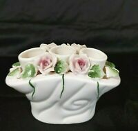 Vintage Porcelain Candle Holder 3 Tapers Pink Roses Made in Japan Preowned