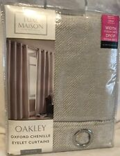"Luxe Maison - Oakley - Oxford Chenile - Silver - Curtains - 46x54"" - Brand New"