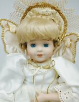 VINTAGE PORCELAIN SHELF DOLL ANGEL WITH WINGS AND WAND