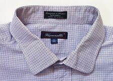 Men's Size 8/18 XL 2XL XXL Faconnable Blue Red White Plaid Long-Sleeve Shirt