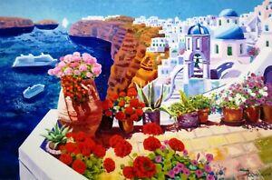 Athos Faccincani 80x120 Un sogno di luce intorno a Santorini - serigrafia