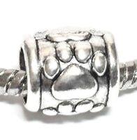 PET PAW_Slider Bead For Silver European Charm Bracelet_Dog Cat Puppy Kitten