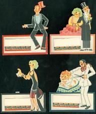4 Charming Art Deco Conundrum Bridge Tally, Volland, Juggler, Barber etc. 1930s