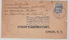 1917 Colombia cover to Union Laboratory USA