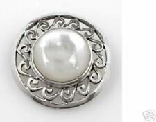 925 Ss Brooch 7.4g Genuine Mother of Pearl Solid