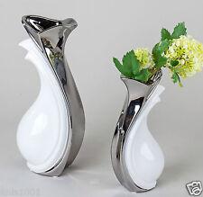 ☼ Formano Vase Keramik weiss silber Deko Blumenvase Deko Vase Größe wählen