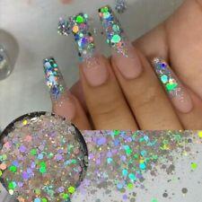 Holographic Silver Glitter Mix shiny Chunky salon Supplies Holo Nail Art Super