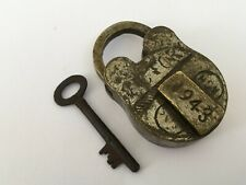 Lock Old Vintage Brass Padlock With Key Rich Patina Collectible Victory 1943