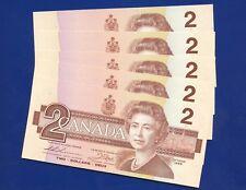 5 Canada 1986 2 Dollar Bank Notes UNC Consecutive S/N's EGG9921055 - 059