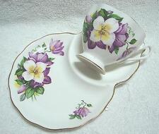 High Tea Queen Anne bone china CLEMATIS Tennis Set cup saucer plate