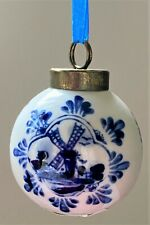 Holland Souvenir Christmas Tree Bulb Delft Windmills Ceramic  Round Numbered