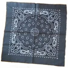 Extra Large Cotton Bandana Scarf Grey Black White Western Paisley