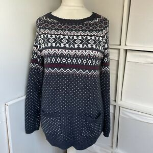 Fat Face Grey & White Fairisle Jumper Size 14 Nordic Knitted Long Sleeve Pockets