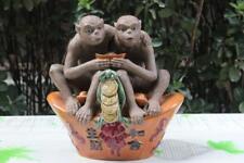 Pottery porcelain Wealth Money YuanBao Peach Two Monkey Monkeys Animal Sculpture