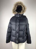 LL Bean Black 80/20 Goose Down Puffer Jacket Faux Fur Hood Full Zip Women's M LN
