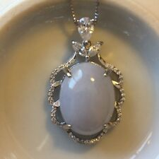 Genuine Large 16.7ct Jadeite Jade Cabochon(Type A) 925 Silver Pendant with Chain