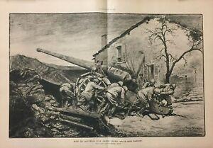 Gravure de Presse - Mise en batterie d'un canon lourd