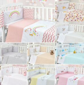 Baby Nursery Cot Bedding 2 Piece Quilt Bumper Baby Bedding Set 100% Cotton