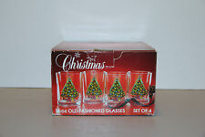 Four Christmas Tree Double Old Fashioneds in Box - Action Industries Carlton