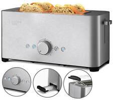Toaster 4 Scheiben Langschlitz Edelstahl Brötchenaufsatz Sandwich 1500W B-Ware