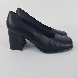 Vintage 70s Black Leather Pumps Womens Shoes Heels Career to Dinner 7