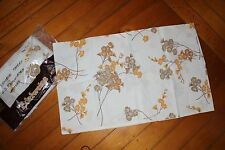 Vintage orange gold floral sheet  +2 slips DOUBLE BED FLAT poly cotton NEW
