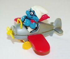 EXC 1981 SCHLEICH PEYO SUPER SMURF AIRPLANE PLANE PILOT #40222 PVC FIGURE RARE
