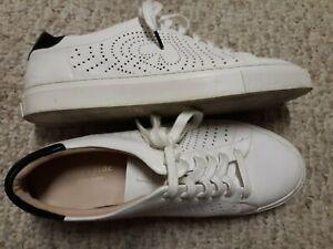 Gorgeous KATE SPADE White LEATHER Black Gold LOGO Women's Size 8.5 M Sneakers