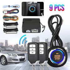 9Pcs Engine Push One-Button Remote Start Keyless Entry Car Suv Alarm System Kit