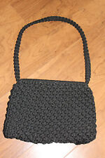 Vintage Black Macrame Shoulder Bag Purse Boho