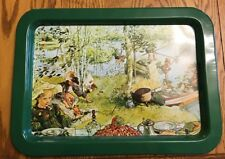 Vintage Tin Serving Tray - Victorian Children Picnic Lake Fishing Scene - 17x12