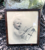 Small Antique Victorian Wood Frame Veneer Glass Baby Child Portrait
