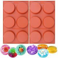 Round Silicone Baking Mould for Cake Cupcake Pie Custard Tart Resin Coaster 2pcs