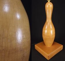 1960's vintage RETRO table lamp MID CENTURY MODERN bowling pin ATOMIC light WOOD