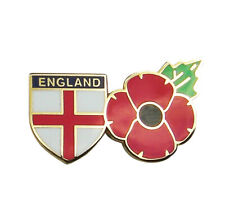 POPPY BADGE WITH CROSS OF ST GEORGE SHIELD - Remembrance Sunday, England Flag