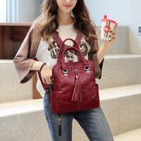 Women's Tassel Backpack Leather Handbag Crossbody Shoulder Bag School Solid Bag