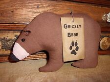 Primitive Grizzly Bear Folk Art Bowl Filler Ornies Rustic Country Style Prim
