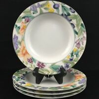 "Set of 4 VTG Rim Soup Bowls 8 1/2"" Mikasa California Magic Garden Fruit Flowers"