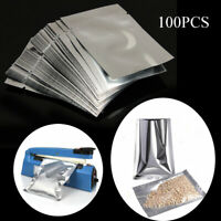 100x Heat Seal Aluminium Foil Bags Vacuum Sealer Pouches Food Grade Storage Bag@