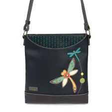 NEW CHALA BLACK DRAGONFLY SWEET MESSENGER CROSSBODY TOTE PURSE FAUX LEATHER