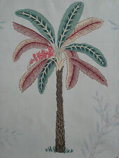 "ZOFFANY CURTAIN FABRIC DESIGN ""Palme"" 3.5 METRES (350 CM) TEAL & PINK 100% LINEN"