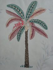 """ZOFFANY CURTAIN FABRIC DESIGN """"Palme"""" 3.65 METRES  TEAL & PINK 100% LINEN"""