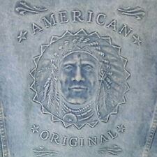 MEN'S LARGE MADE IN USA DENIM JACKET 100% COTTON , EMBOSSED AMERICAN ORIGINAL