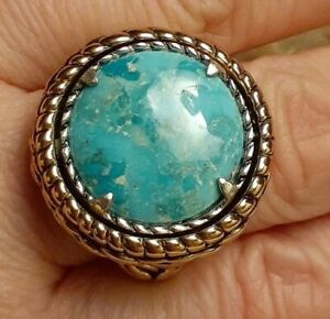 Designer Studio Barse Two-in-one Turquoise Mixed Metal Coin Ring Size 8